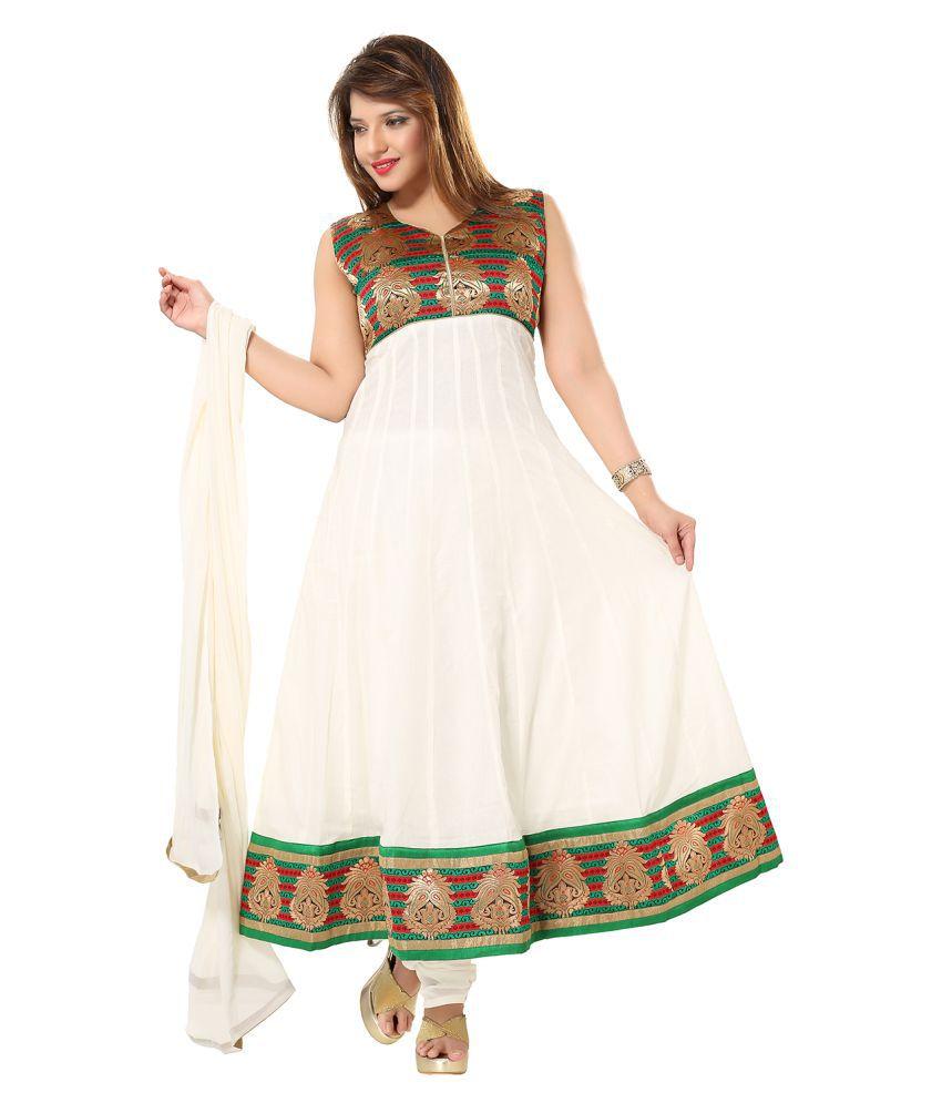 PC Chandan Creation White Cotton Anarkali Stitched Suit