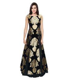 Omstar Fashion Black Art Silk Semi Stitched Lehenga