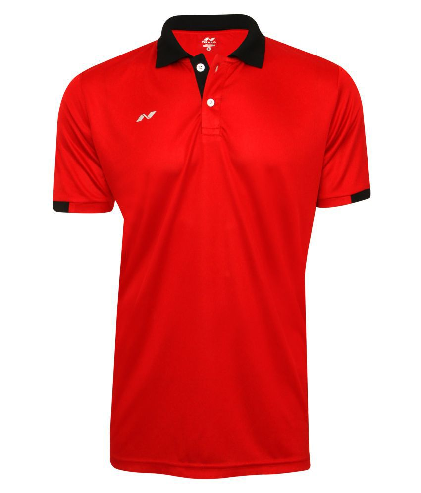 Nivia Red Polyester Polo T-shirt