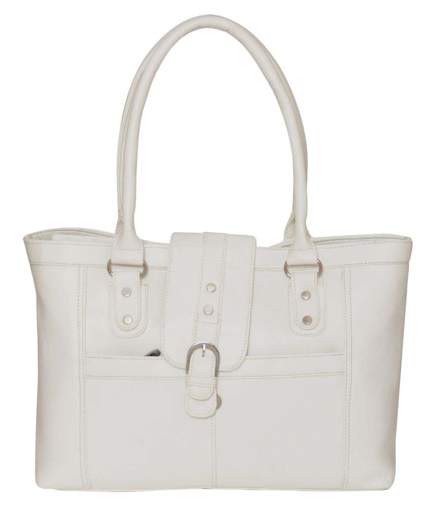FD Fashion White Artificial Leather Shoulder Bag