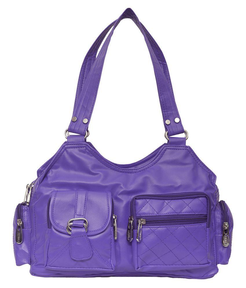 FD Fashion Purple Artificial Leather Shoulder Bag