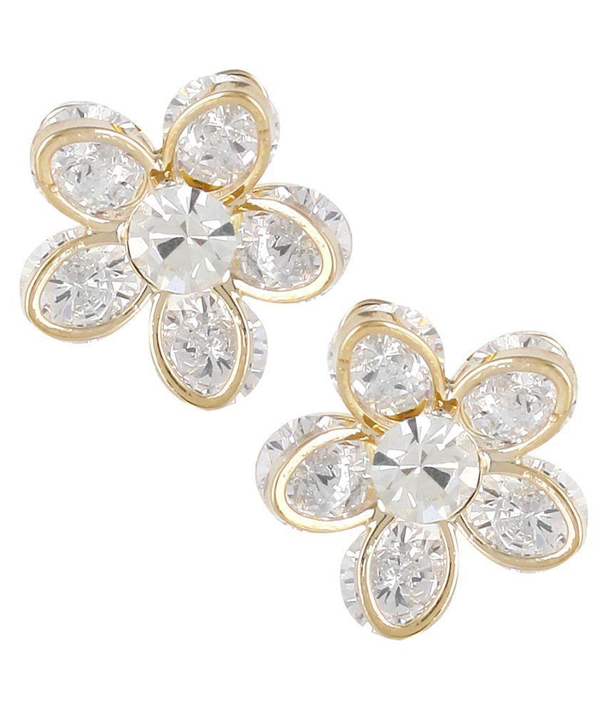 Jewels Galaxy White Stud Earrings