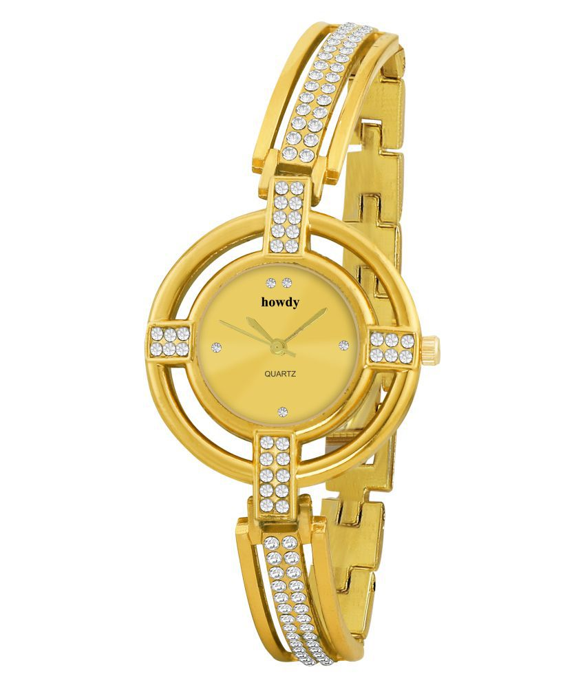 Howdy Crystal Studded Golden Dial with Golden Chain Analog Watch