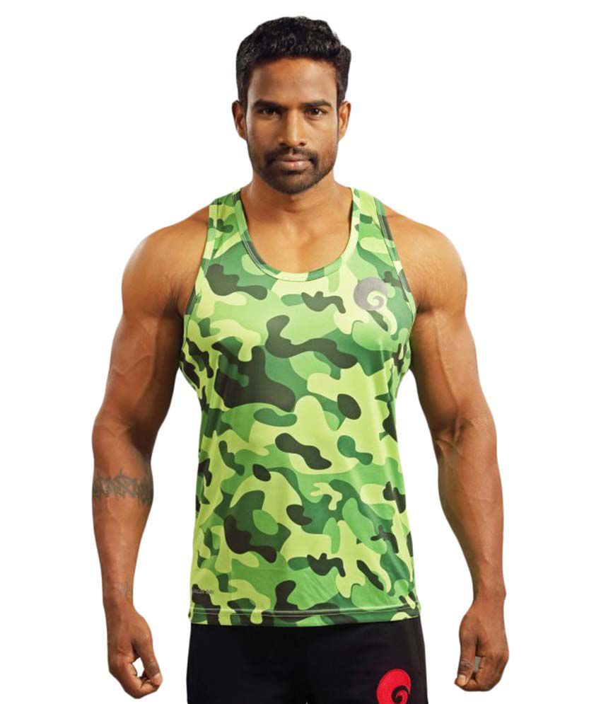 Omtex Polyster Green Gym Tanks