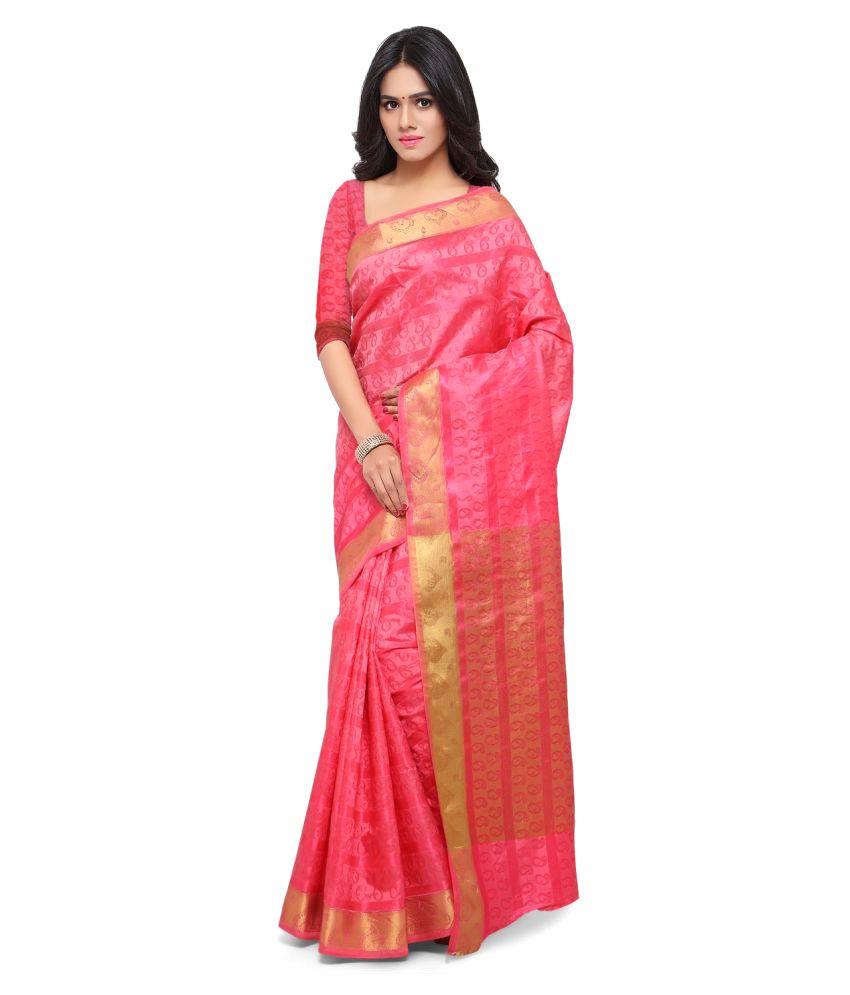 Magikmania Pink Silk Saree