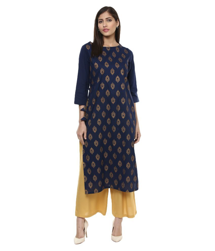 Bhama Couture Blue Cotton Straight Kurti