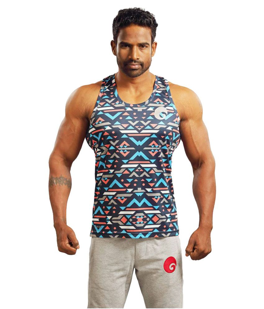 Omtex Blue Geometric Polyster Sublimated Gym Tank