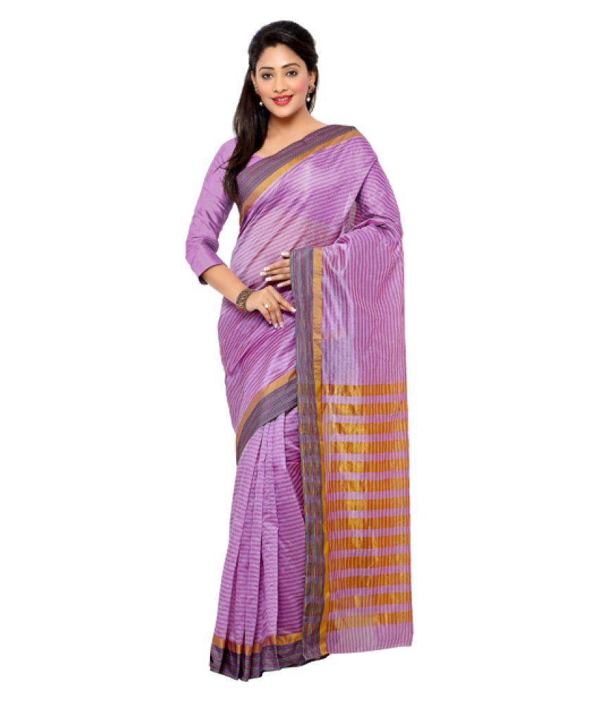 Fabfella Purple Chanderi Saree