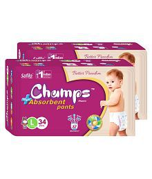 Champs High Absorbent Pant Style Diaper Large (34 Pieces) - Pack of 2