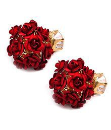 Jewels Galaxy Red Exclusive & Elegant Rose Designer Glitzy Stud Earrings For Women