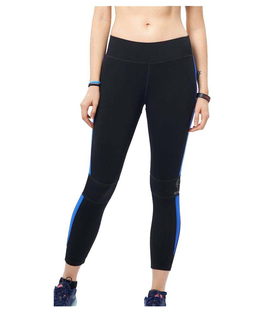 Restless Black Blue Lycra Bottomwear RS C 12B