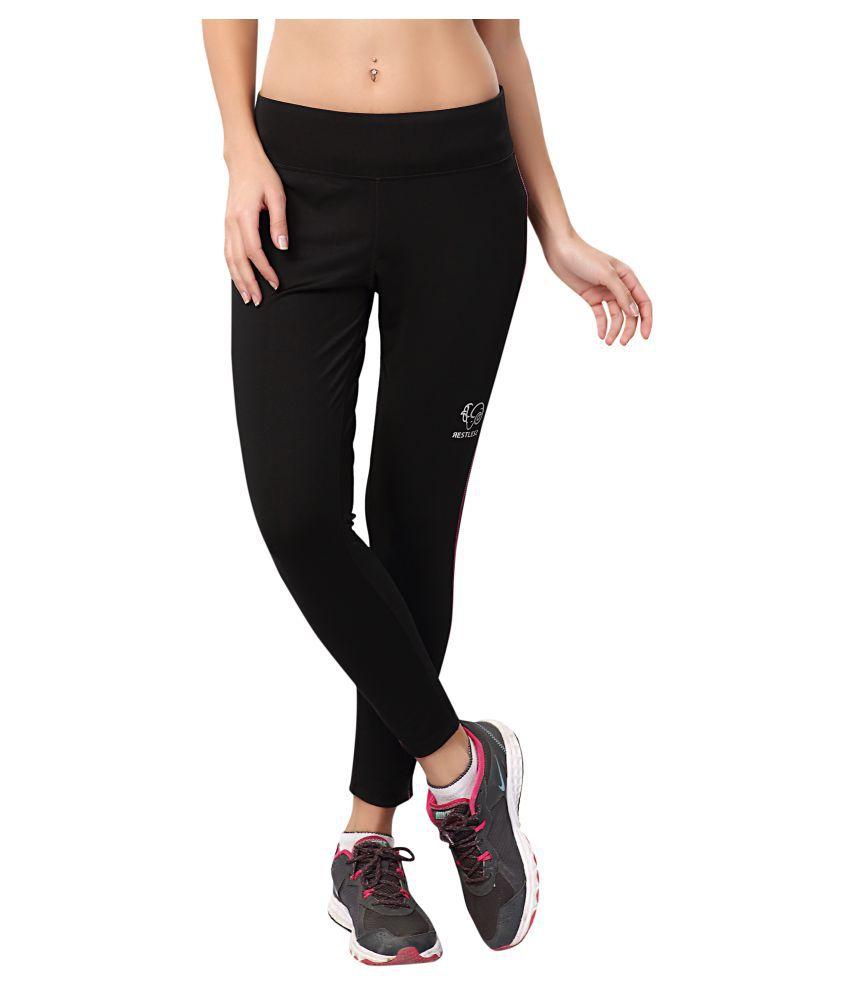 Restless Black Pink Lycra Bottomwear