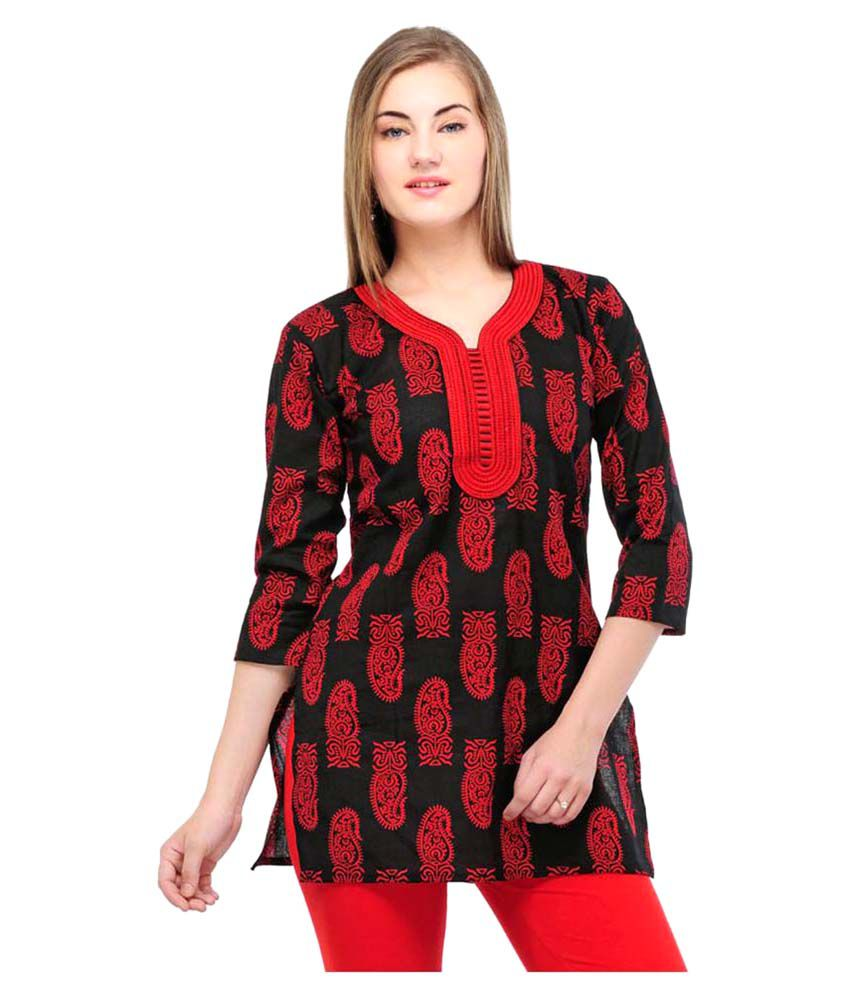 Starshop20 Red Cotton A-line Kurti