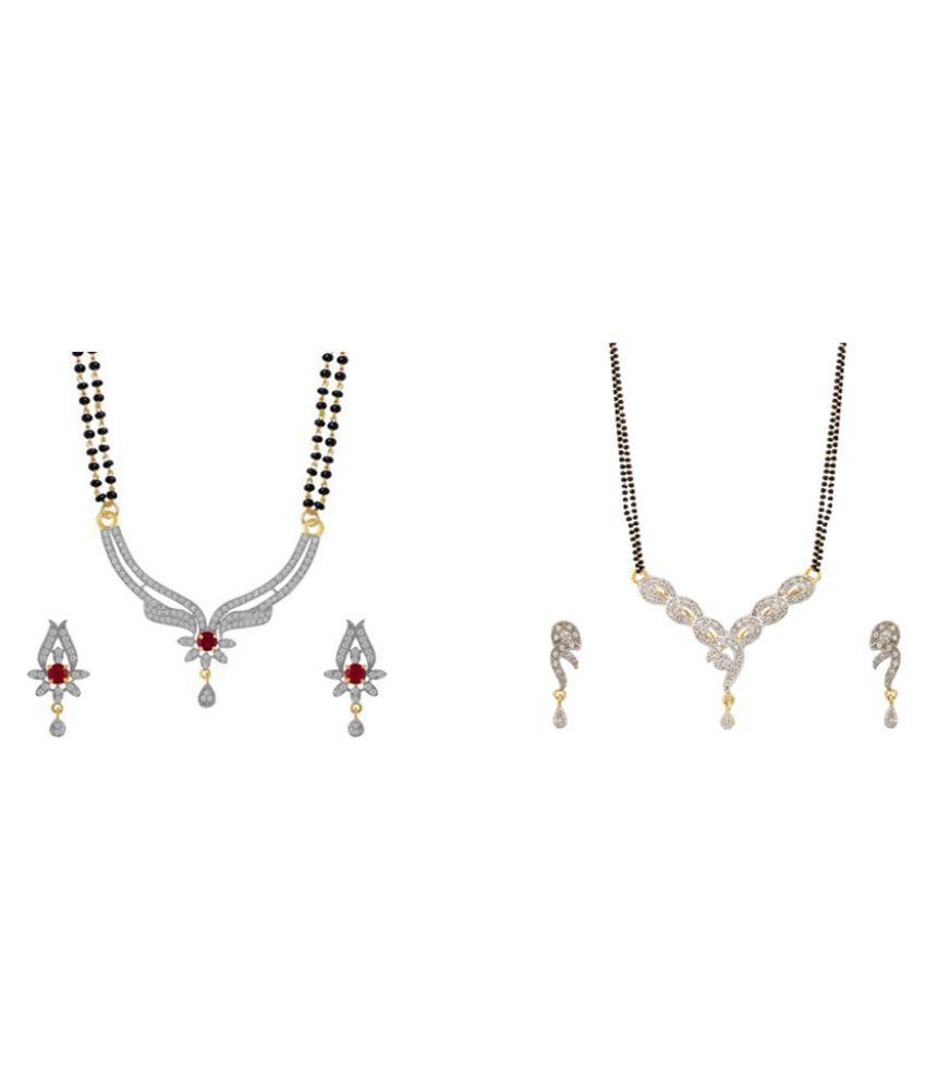 Zevar Green American Diamond Best and Beautiful Mangalsutra Combo Set For Women