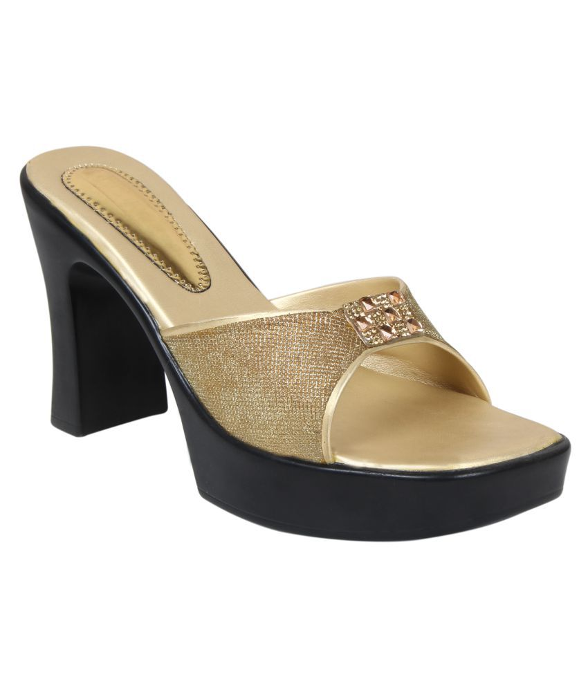 Right Steps Gold Block Heels