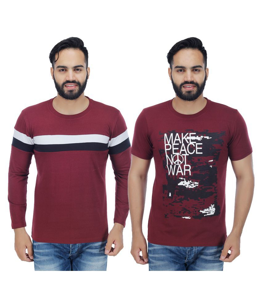 Candy House Maroon Round T-Shirt Pack of 2