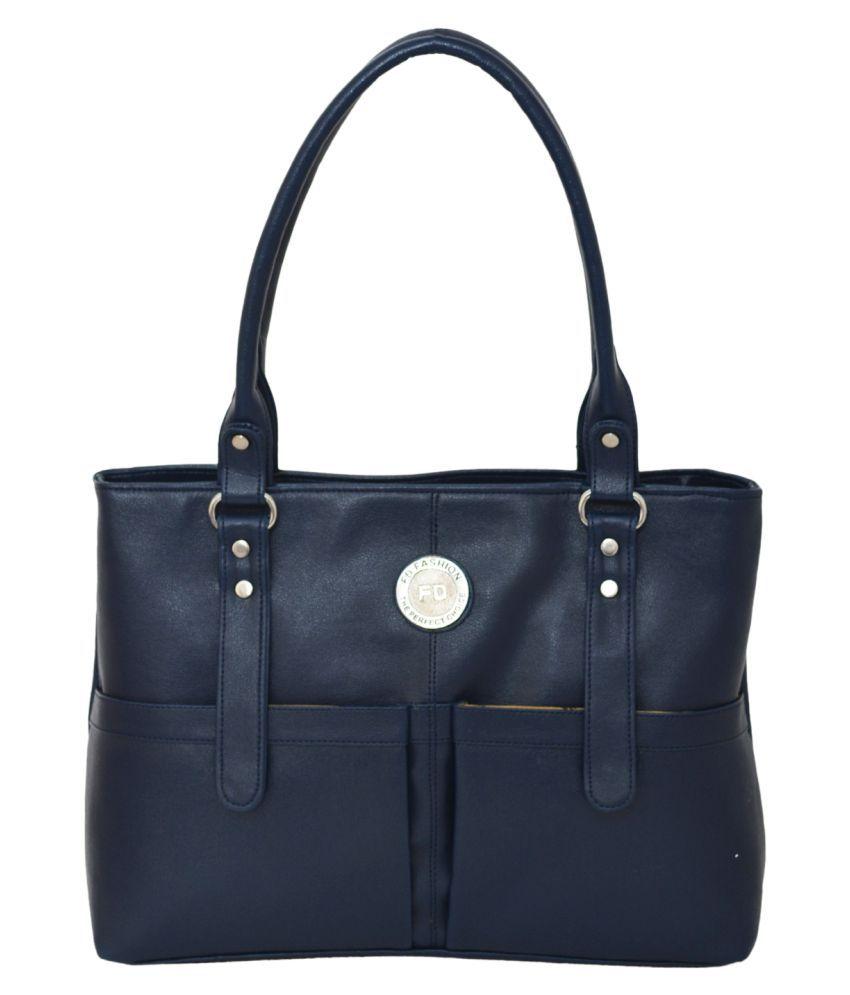 FD Fashion Blue Artificial Leather Shoulder Bag