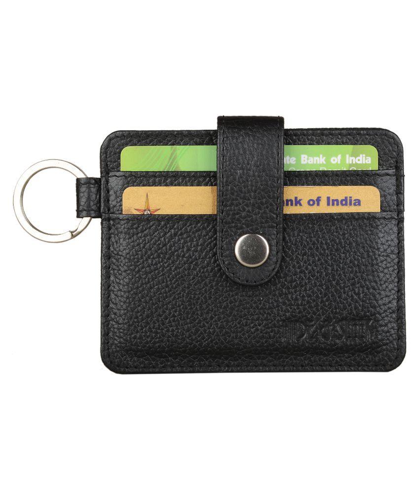 Hide&Sleek RFID Protected Genuine Black Leather Slim Card Holder