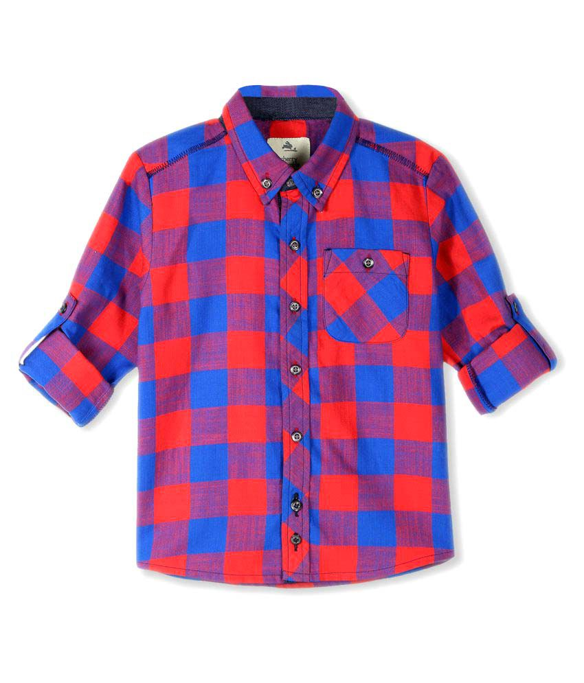 Cherry Crumble California Multicolour Checkered Cotton Shirt for Girls