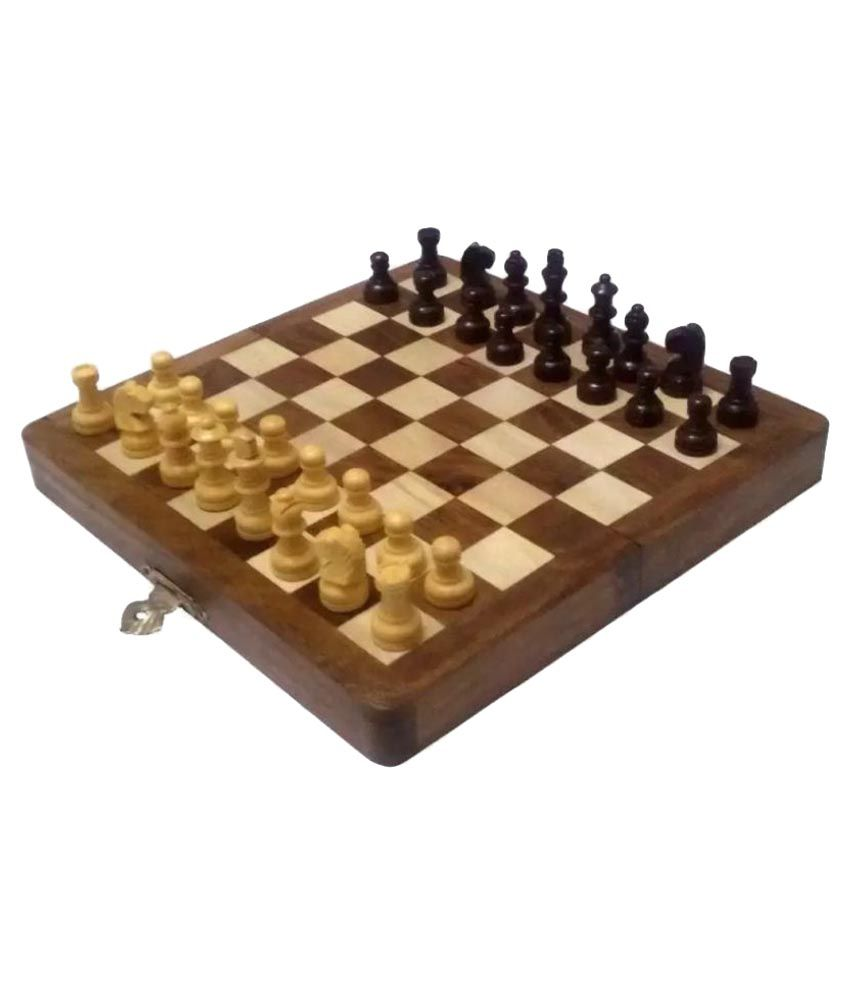 MCW Brown Portable Handicraft Wooden Magnetic Chess