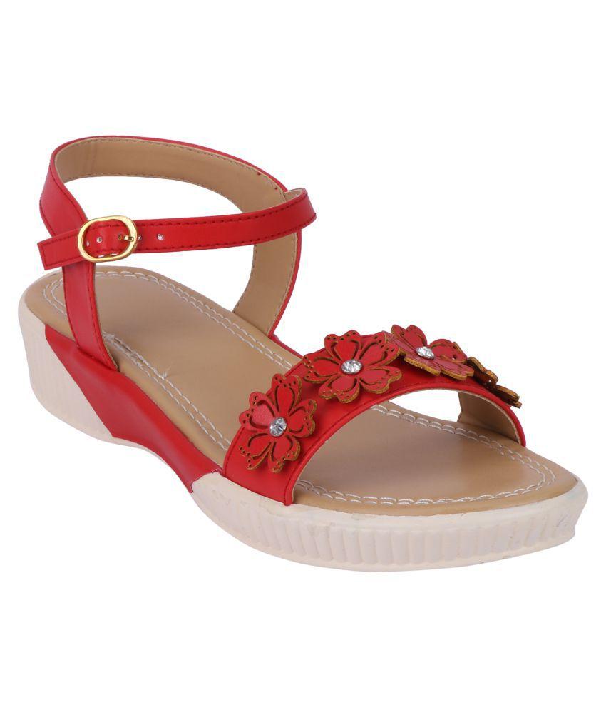 Smart Traders Red Wedges Heels