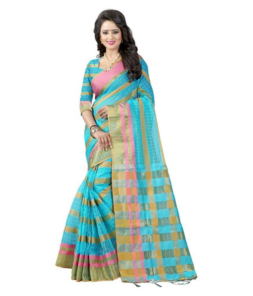 Bhuwal fashion Turquoise Cotton Silk Saree