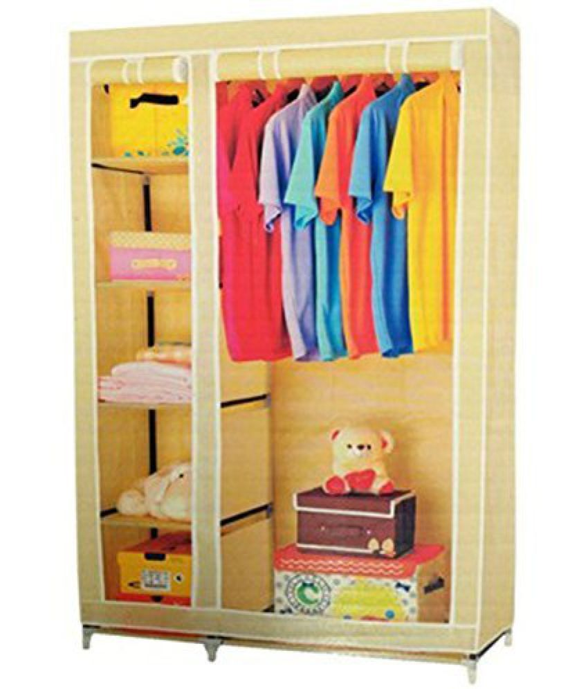 Krishyam Portable Non Woven Canvas Fabric Foldable/Collapsible Double Door Wardrobe  Organizer   Beige