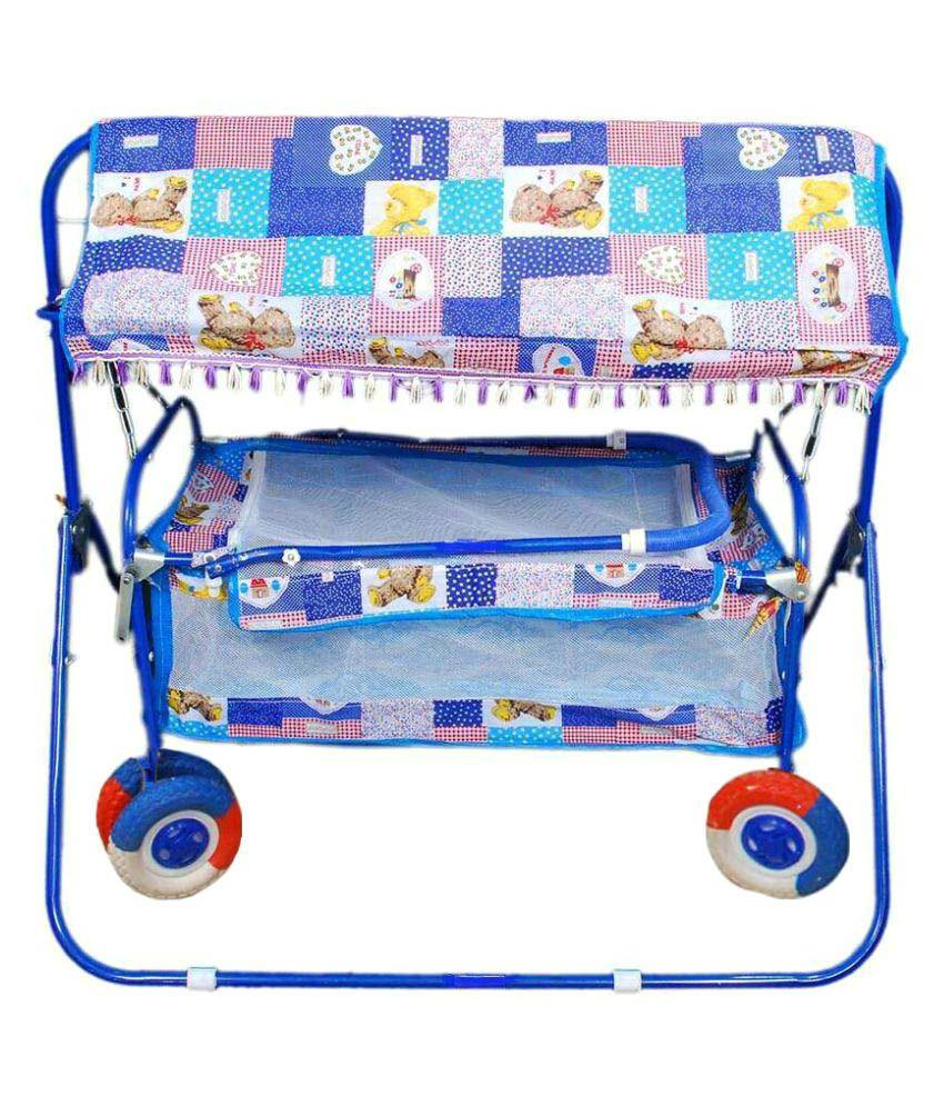 Shivaay Trading Co. Eva Wheel Blue Baby Cradle Cum Bassinet with Hood