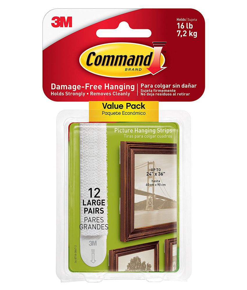 Command Picture & Frame Hanging Strips Value Pack, Large, White, 12 ...