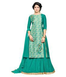 Viva N Diva Green Bangalore Silk Unstitched Lehenga