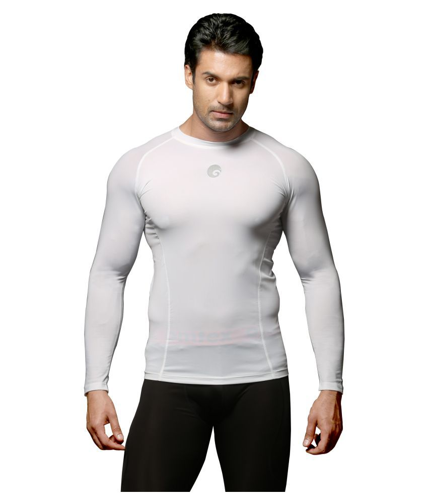Omtex White Polyster Full Sleeves Compression Top