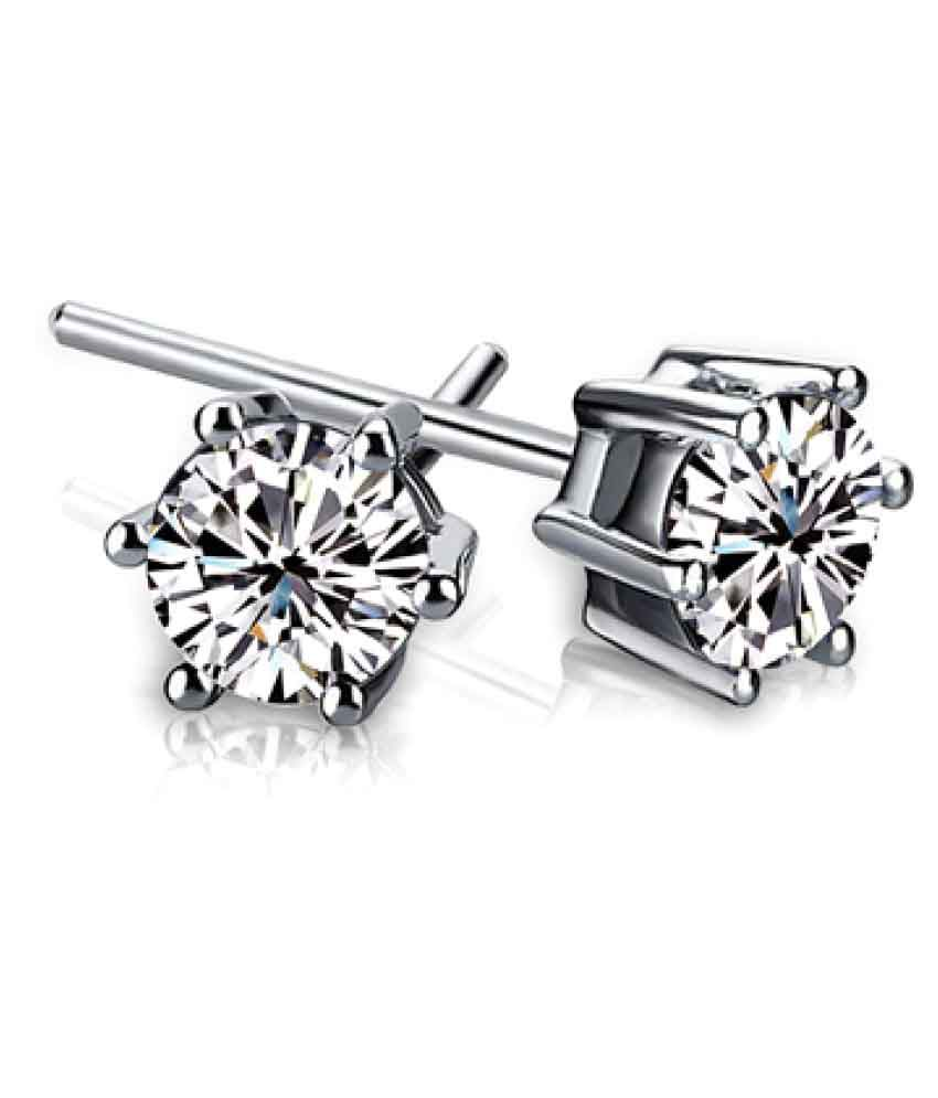 Silver Shoppee Alloy Rhodium Plated Crystal Silver Stud Earrings