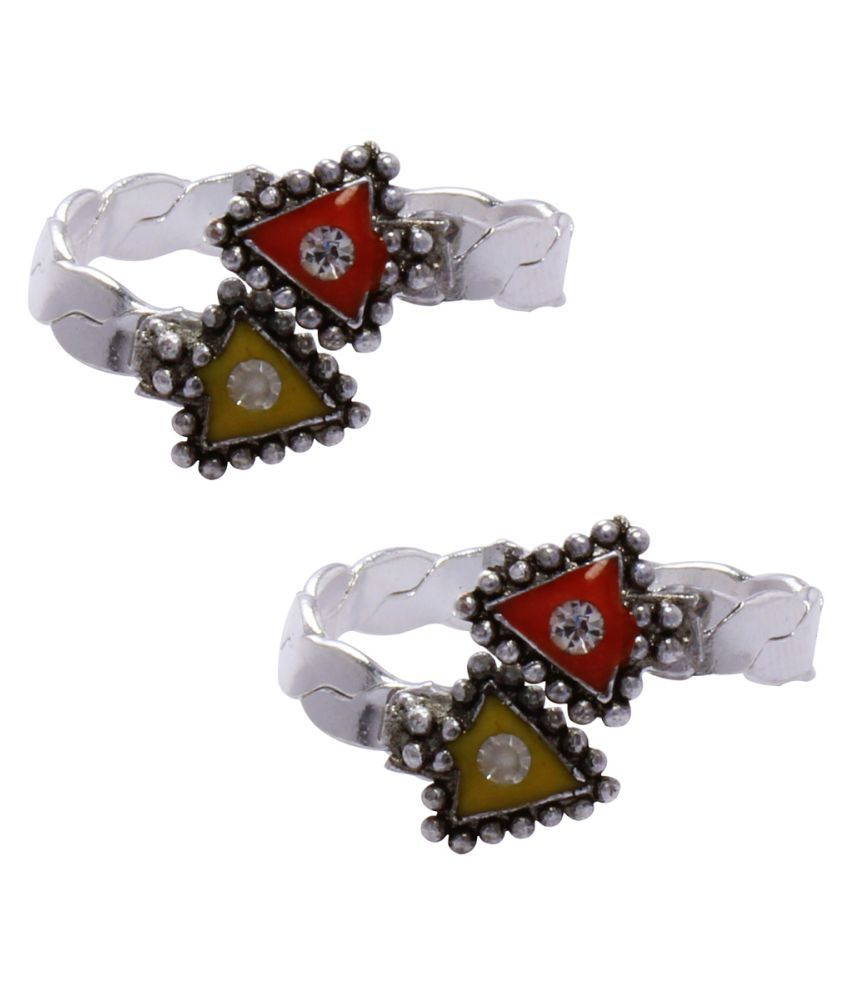 Pinkcityretailer Garman Silver Multicolor Toe Ring