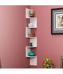 India Wooden Handicraft Wood Utility Wall Shelf White - Pack Of 1