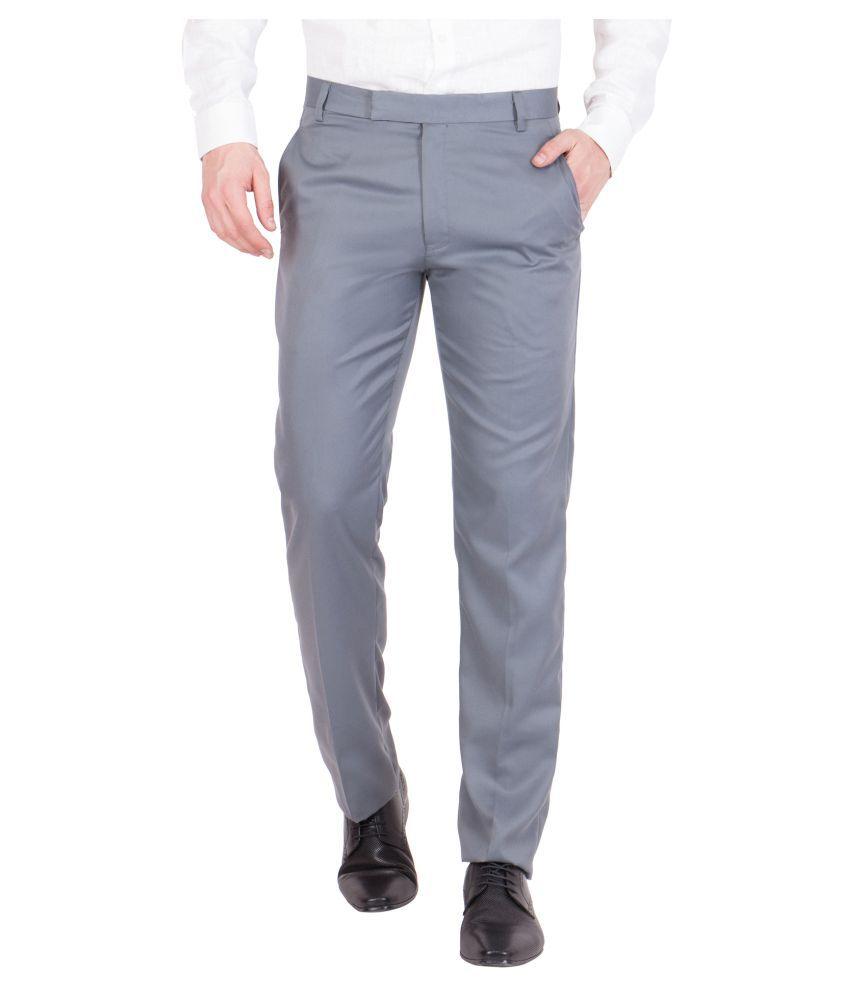 American-Elm Grey Slim Flat Trousers