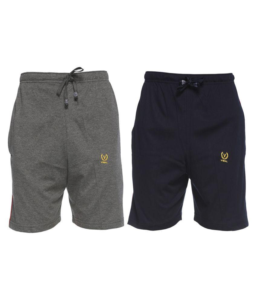 Vimal Jonney Black Shorts Pack Of 2