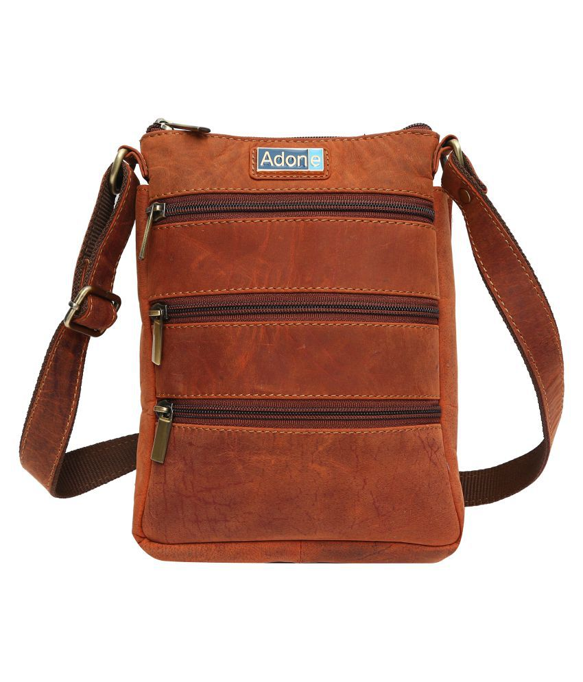 Adone Tan Pure Leather Sling Bag