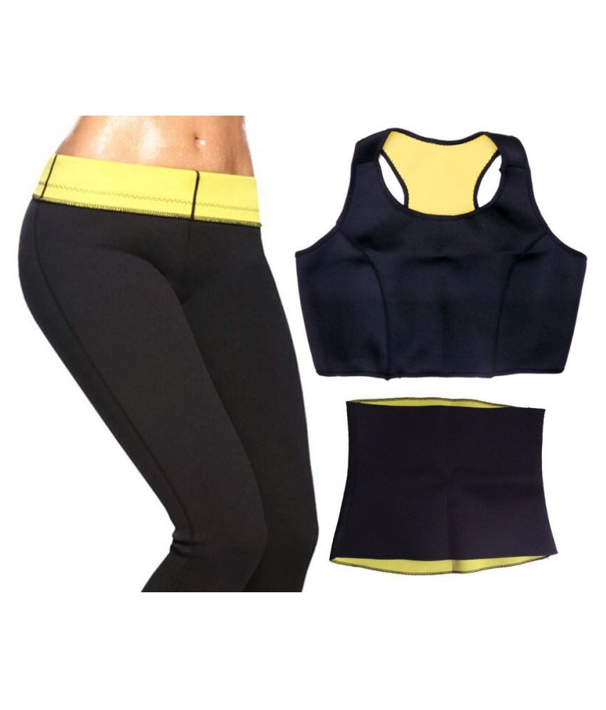 Bustbuy Hot Shapers Sweat Fat Cutter & Fat Burner Complete Set Combo of Belt, Bra & Pant Size_3XL