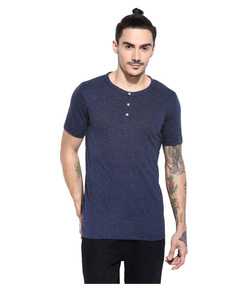 Campus Sutra Blue Henley T-Shirt