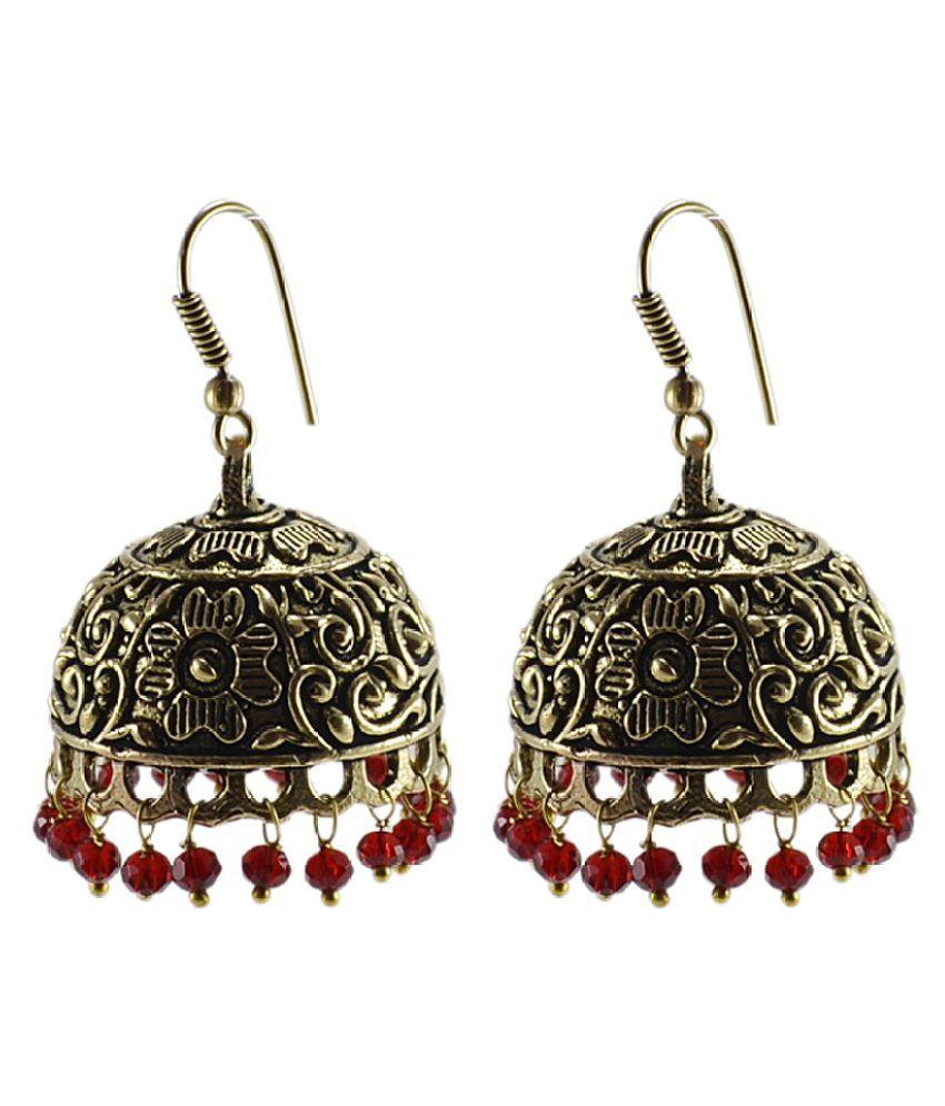 Silvesto India Antique Jaipuri Style Oxidized Red Jhumki Dome Shaped Earrings