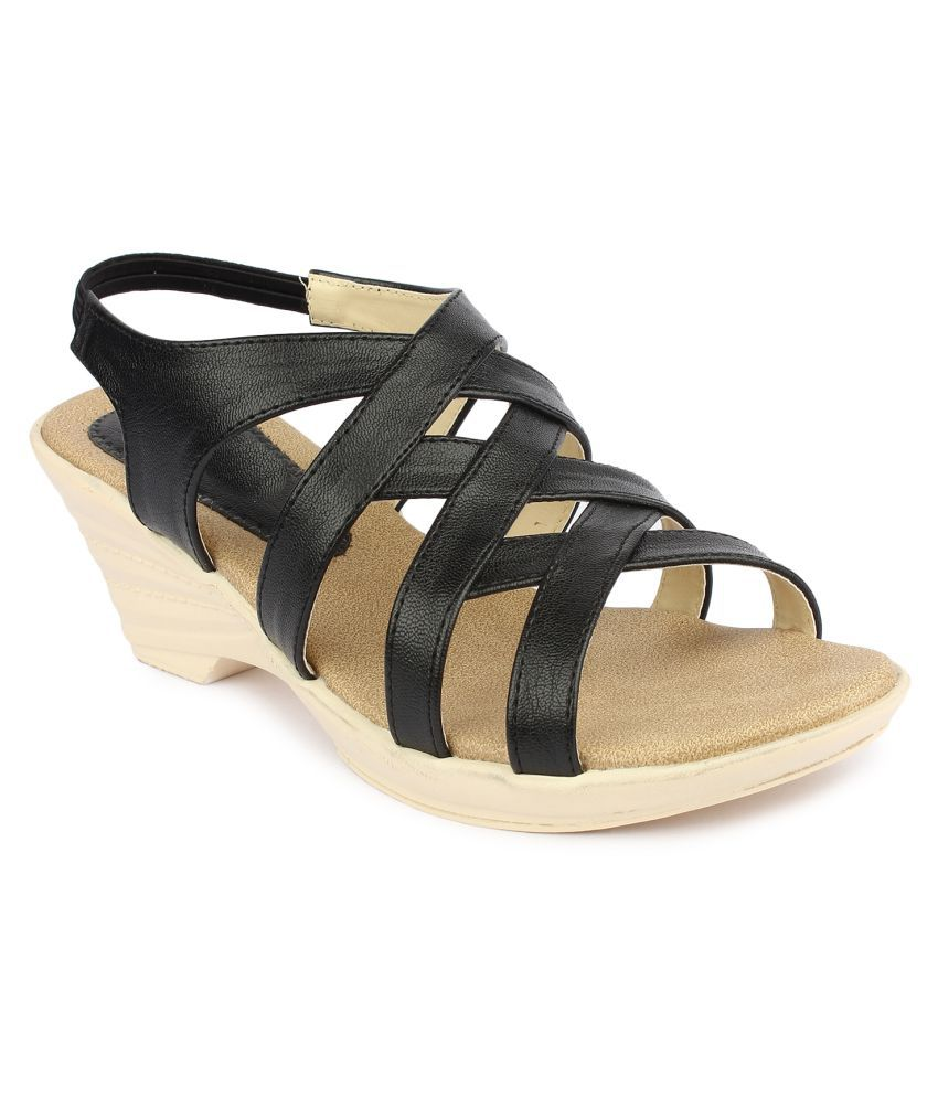 Tamasha Black Wedges Heels