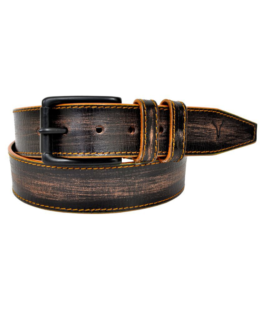 Virtuoso Black Leather Casual Belts