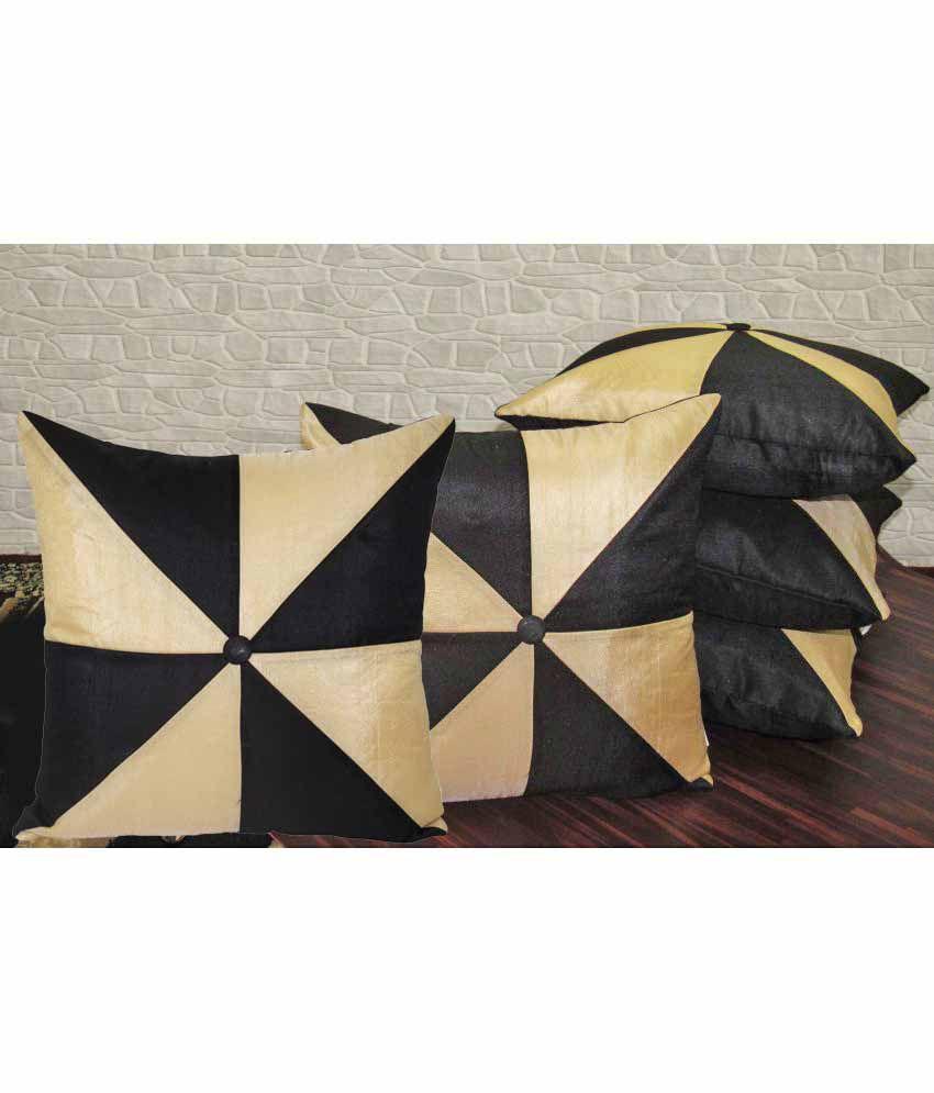 Zikrak Exim Set of 5 Polyester Cushion Covers 40X40 cm (16X16)