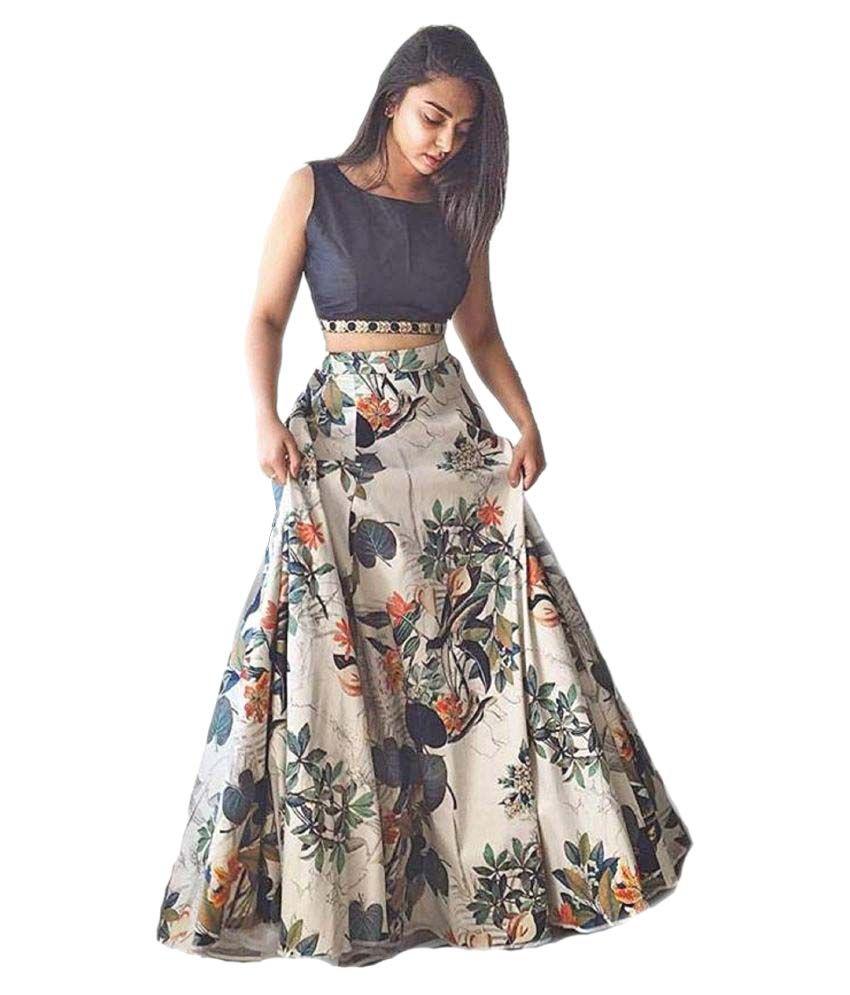 Smart Fashions Multicoloured Bhagalpuri Silk Circular Semi Stitched Lehenga at snapdeal