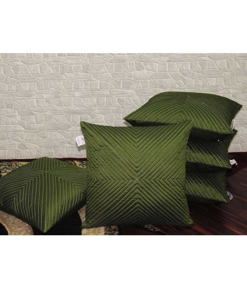 Zikrak Exim Set of 5 Poly Dupion Cushion Covers 40X40 cm (16X16)
