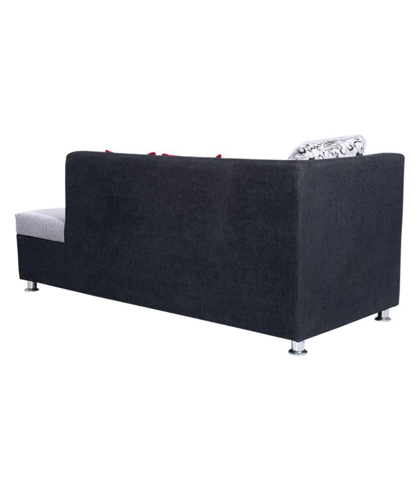 ... Bharat Lifestyle Nano L Shape Black U0026 Grey Fabric Sofa Set ...