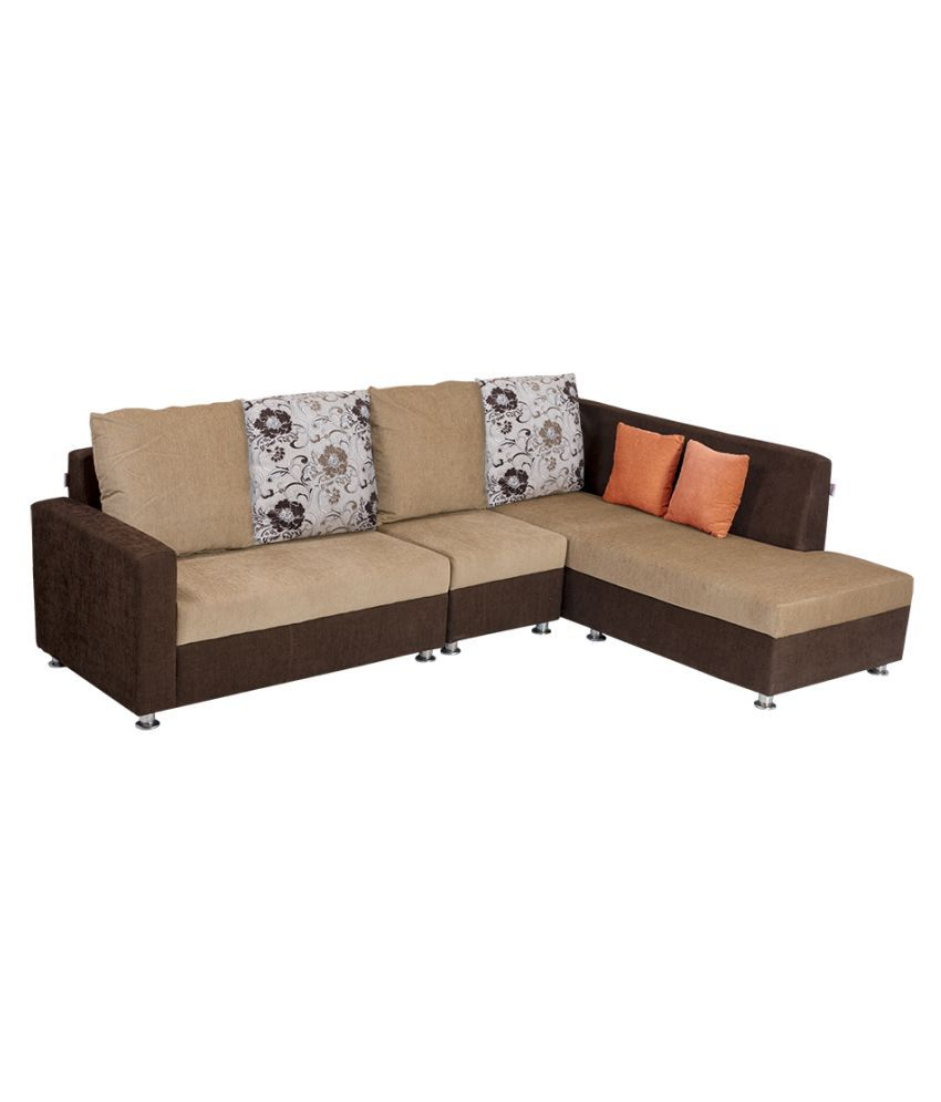 bharat lifestyle nano l shape cream amp brown fabric sofa. Black Bedroom Furniture Sets. Home Design Ideas