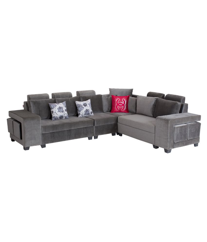 Bharat Lifestyle Square Puffy L Shape Grey Fabric Sofa Set