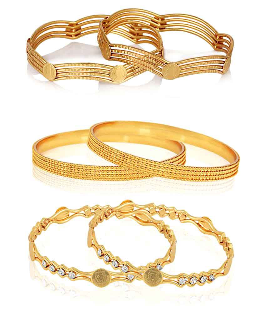 Zeneme Golden Gold Plated Bangles - Pair of 3