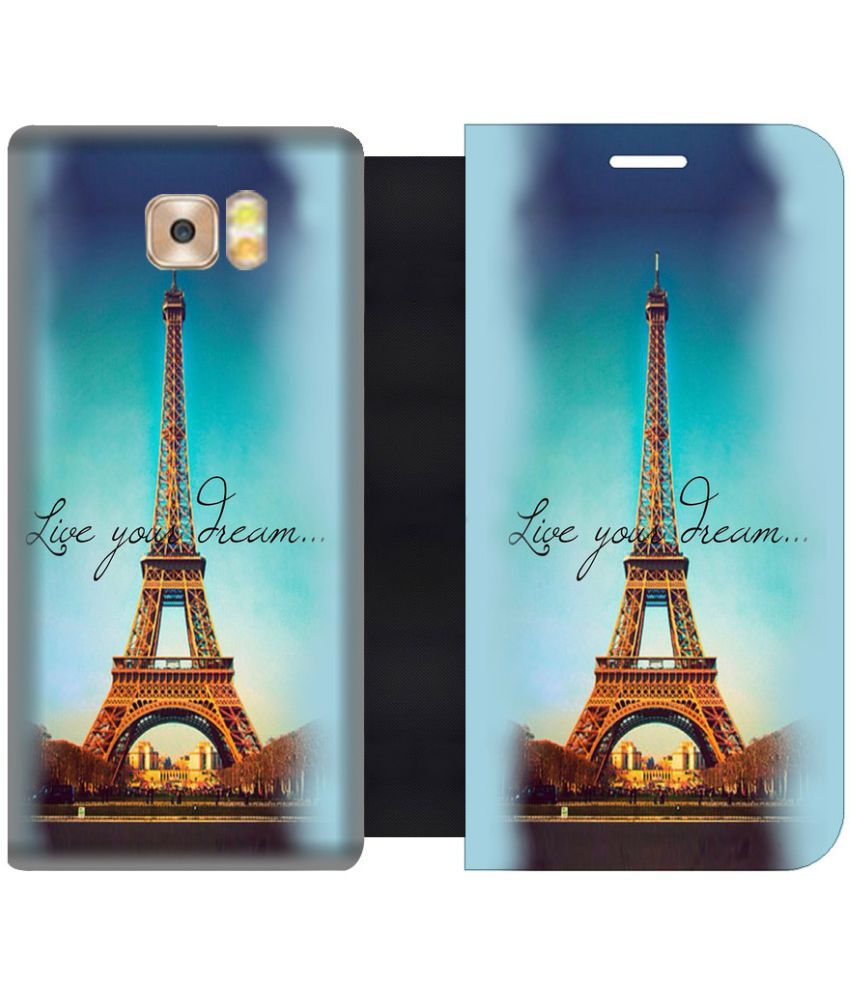 Samsung Galaxy C9 Pro Flip Cover by Skintice - Brown